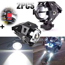 2 Pcs <b>125W</b> U5 <b>Motorcycle</b> Cree LED Headlight Driving Fog Lights ...