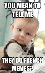 You mean to tell me they do french memes? - skeptical baby - quickmeme via Relatably.com