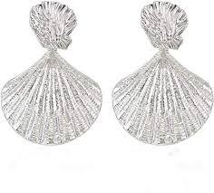 NLCAC Sea Shell Earrings Statement Silver Metal ... - Amazon.com