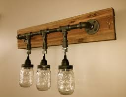 jar light fixture for bathroom made from pallet wood and mason jars bathroom light fixtures ideas hanging