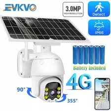 EVKVO 4G <b>8W Solar</b> IP Camera SIM Card 3MP HD Outdoor <b>WiFi</b> ...