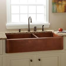 hammered copper kitchen sink: quot fiona   offset double bowl hammered copper farmhouse sink
