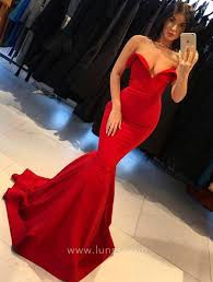 <b>Sexy Red</b> Folded Off-shoulder <b>Mermaid Prom</b> Dress - Lunss