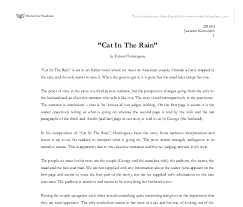 cat in the rain essay  wwwgxartorg cat in the rain quot by ernest hemingway gcse english marked by document image preview