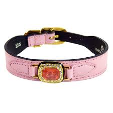 Haute Couture Swarovski <b>Crystal</b> Leather Dog Collar <b>Sweet Pink</b> ...