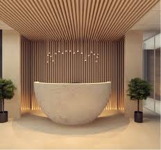 2nd reception desk featuring interesting and intriguing design bridge reception counter office line