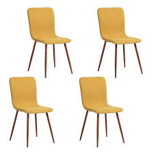 FurnitureR Scargill <b>Yellow Fabric Dining Chair</b> (Set of 4)-SCARGILL ...