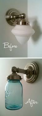 jar crafts home easy diy: mason jar light makeover update an outdated light with a large mason jar a