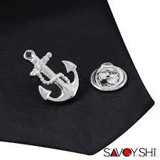 <b>SAVOYSHI</b> Novelty Silver Anchor Shape Men <b>Lapel Pin</b> Brooches ...