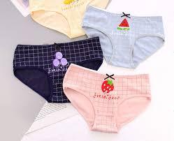 Cute Fruit Printed Freshness <b>Comfortable</b> Mid-Waist <b>Cotton Girl's</b> ...