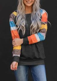 Women <b>Color Block Striped</b> Harajuku Blouse Dark Grey Vogue Girl ...