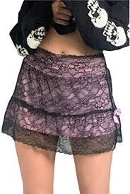 Amazon.com: <b>Sexy Women</b> Lace Patchwork <b>Mini</b> Pleated Skirts ...