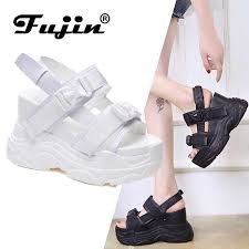 <b>Fujin</b> High Heeled Sandals Female Summer <b>2019</b> Women Thick ...
