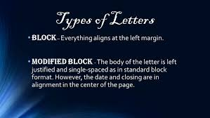letters types of letters block everything aligns at the left types of letters block everything aligns at the left margin