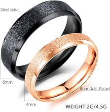 Rose Gold Plated Stainless <b>Steel RING</b> Frosted Surface <b>Titanium</b> ...