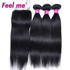 <b>Feel Me Malaysian</b> Straight <b>Hair</b> Bundles #1 Jet Black Human <b>Hair</b> 3 ...