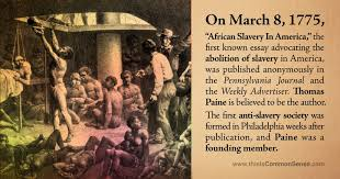 african slavery in america by thomas paine  common sense with  slaverypaine