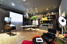modern home office design with comfortable nuance imitation flower and original table lamp over black attractive office furniture ideas 2
