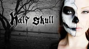 request half skull 2016 makeup tutorial