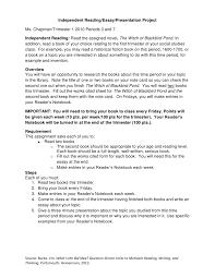 independent reading essay presentation assignment independent readingessaypresentation projectltbr gtms chapmantrimester