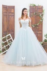 <b>Light</b> Blue <b>Lace</b> & Tulle Off-shoulder Wedding <b>Ball</b> Gown - VQ