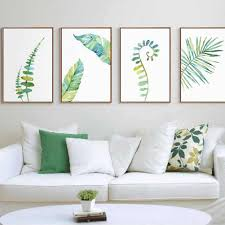 1pc <b>Watercolor Tropical Plant</b> Leaves Minimalist Art Canvas Poster ...