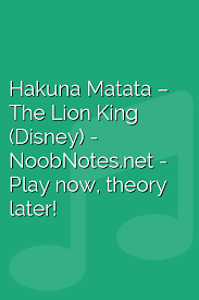 <b>Hakuna Matata</b> – The Lion King (Disney) <b>letter</b> notes for beginners ...