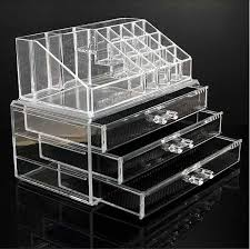 plastic makeup organizer put bathroom: cosmetic organizer clear acrylic make up drawers holder case box jewelry storage in health amp beauty