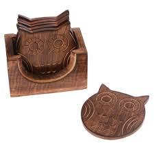 Set Of 6 <b>Wooden</b> Fox Coasters In <b>Wooden</b> Box Set <b>Brown Beige</b> ...