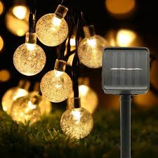 <b>5M 6M Solar Lamp</b> Crystal Ball LED String Lights Flash Waterproof ...