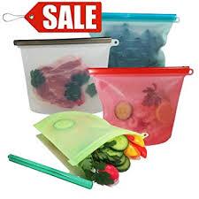<b>Food Storage</b> Bags, Reusable <b>Silicone</b> Food Bag, 4 PCS <b>1000ml</b> ...