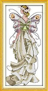 <b>Flower fairy</b> cross stitch kit <b>beauty women girl</b> 14ct counted fabric ...