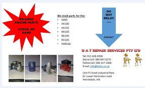 <b>RICARDO DIESEL</b> ENGINE SPARES 495 4100 4102 <b>4105</b> 3105 6105