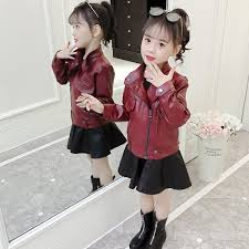 Kids Clothes <b>Girls Pu Jacket Rivet</b> Zipper Cool Jacket Leather ...