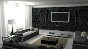 Wallpaper Decoration For Living Room Black And White Living Room Decor Interior White Leather Sofa Chic