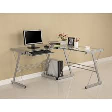 amazoncom walker edison 3 piece contemporary glass and steel desk silver kitchen dining attractive office desk metal