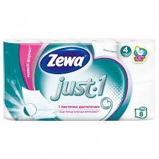 <b>Бумага туалетная</b> белая 4х-слойная 8 рулонов <b>ZEWA just</b>, в ...