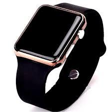 <b>Fashion</b> Square <b>Mirror</b> Face Silicone Band <b>Digital</b> Watch Red <b>LED</b> ...