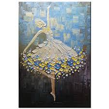 Okbonn-100% Hand Painted <b>Ballet</b> Girl Dancer Painting <b>3D</b> Oil ...
