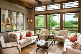 fascinating craftsman living room chairs furniture: beautifully decorated craftsman living room with large windows beam ceiling wood floors and off