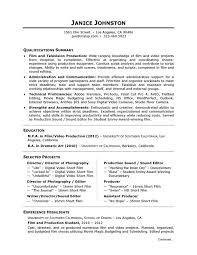 Academic Skill Conversion Film and Television Production Sample Resume Pinterest