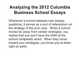 analyzing the  columbia business school essays analyzing the  columbia business school essayshttpwwwamerasiaconsultingcom