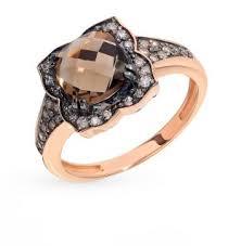 Золотое <b>кольцо</b> с коньячными <b>бриллиантами</b>, <b>раухтопазами</b> и ...