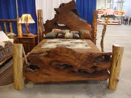 ravishing log full size bed frame with brown mattress also white blue curtain as decorate rustic bedroom decorating designs blue vintage style bedroom