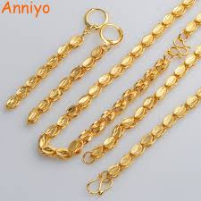 2019 <b>Anniyo</b> TWO SIZE Ethiopian <b>Necklace Earrings</b> Bangle Gold ...