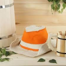Шапка для <b>бани</b> и <b>сауны</b> (<b>колпак</b>) <b>КОВБОЙ</b> белый с оранжевым ...