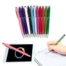 2 in 1 Universal Touch Screen Stylus Pen Ballpoint For iPhone iPad ...