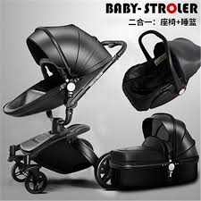 Luxury Baby <b>Strollers 3</b> In <b>1</b> Sleeping Basket Car Safety Seat PU ...