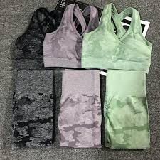 2PCS/Set Camouflage <b>Yoga</b> Set <b>Women</b> Seamless <b>Fitness Yoga</b> ...