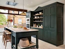 kitchen cabinets home office transitional: farrow and ball green smoke kitchen traditional with open wooden shelves traditional kitchen cabinetry